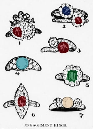 Colored stone engagement rings (1899)