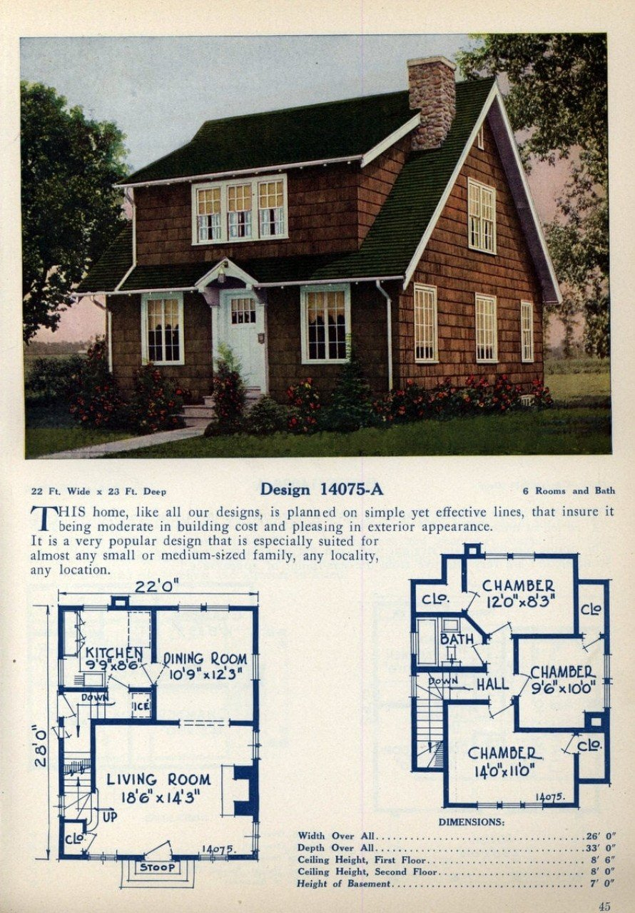 62 beautiful vintage home designs & floor plans from the ... on