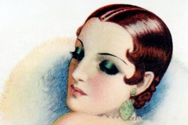 expressive, dramatic 1920s eye makeup style popular during the silent movie era