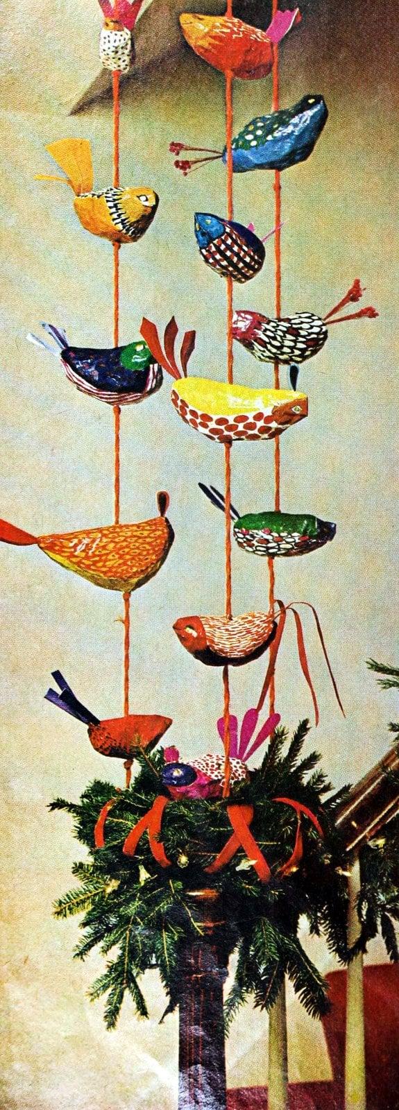 fanciful papier-mache birds