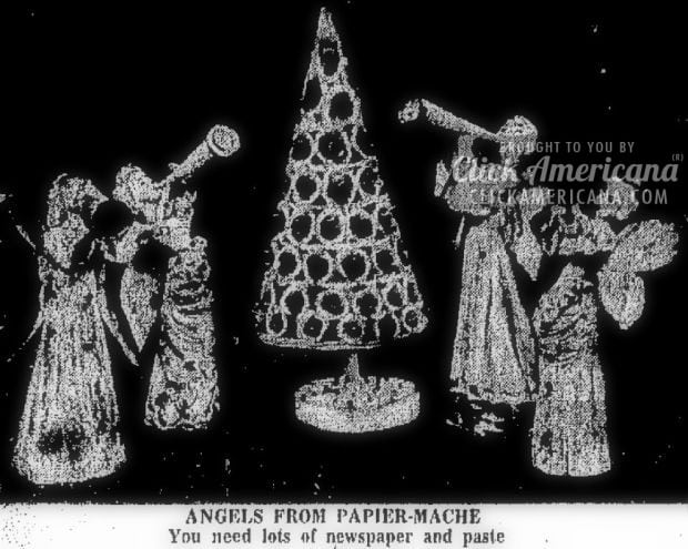 Fashion angels for yule out of papier-mache (1961)