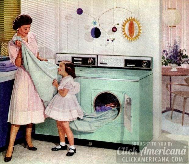 Fifties housewife doing laundry in 1959