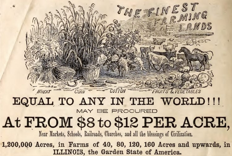 Illinois: Farm land from $8 to $12 an acre (1863)