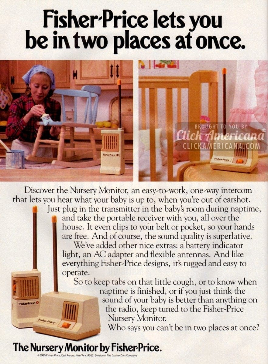 Discover the baby nursery monitor from Fisher-Price (1985)