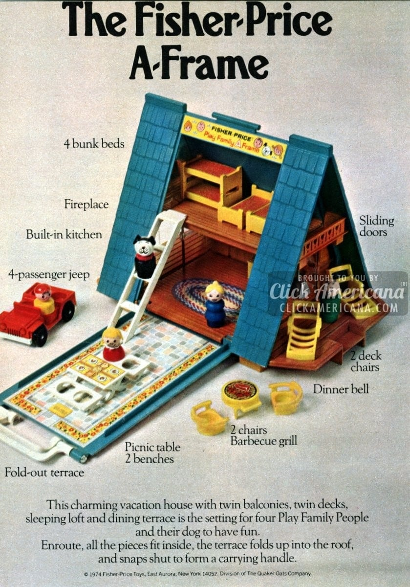 The Fisher Price A Frame Dollhouse 1974 Click Americana