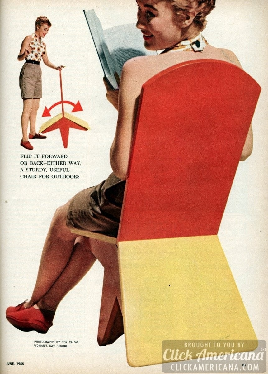 How to make a sturdy, useful flip-over chair (1955)