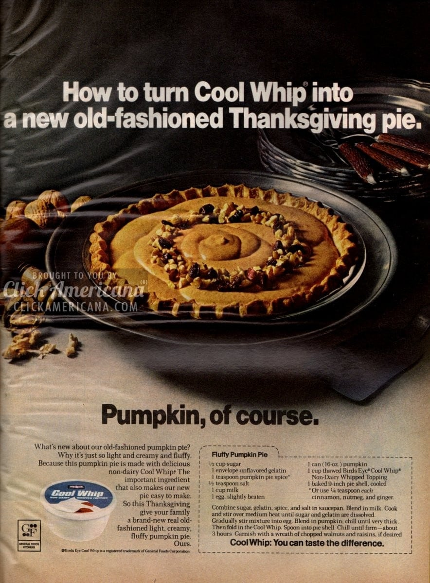 Fluffy Pumpkin Pie recipe (1971)