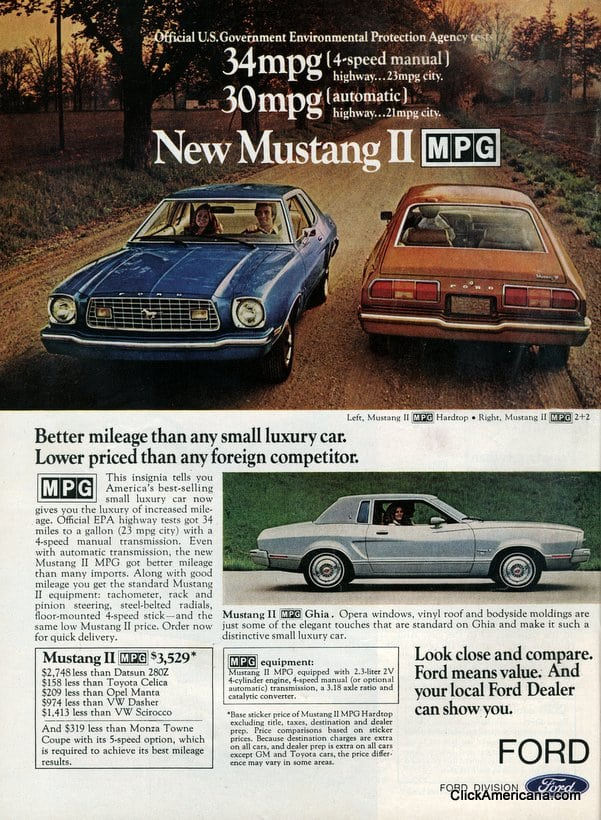 Chrysler 300 Mpg >> Ford debuts the Pinto MPG & Mustang II MPG (1975) - Click