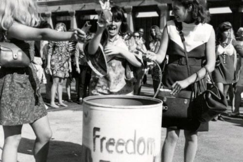 freedom trash can - bra burning - 1970