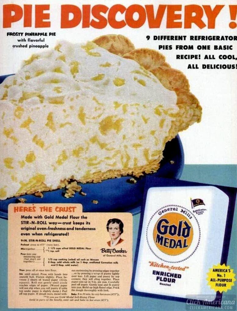 Frosty pineapple pie recipe (1953)