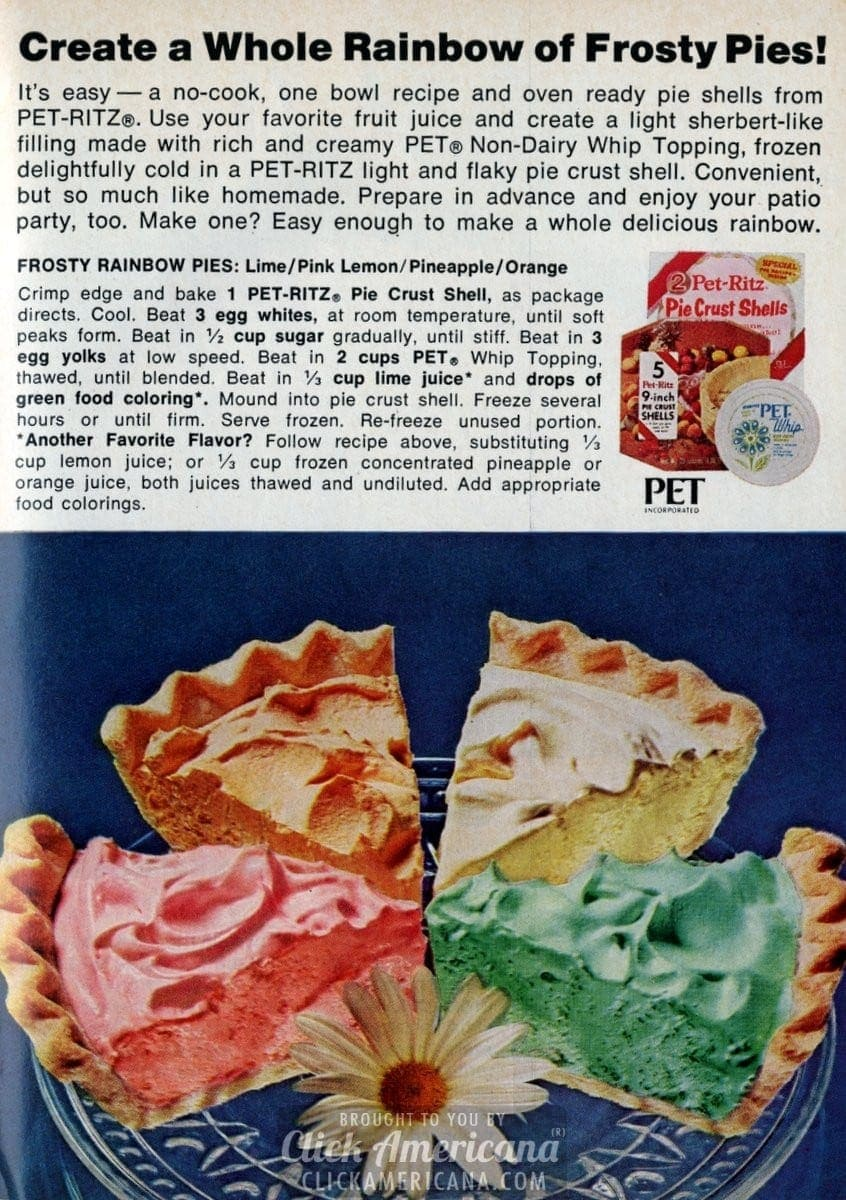 Create A Whole Rainbow Of Frosty Pies 1972 Click Americana
