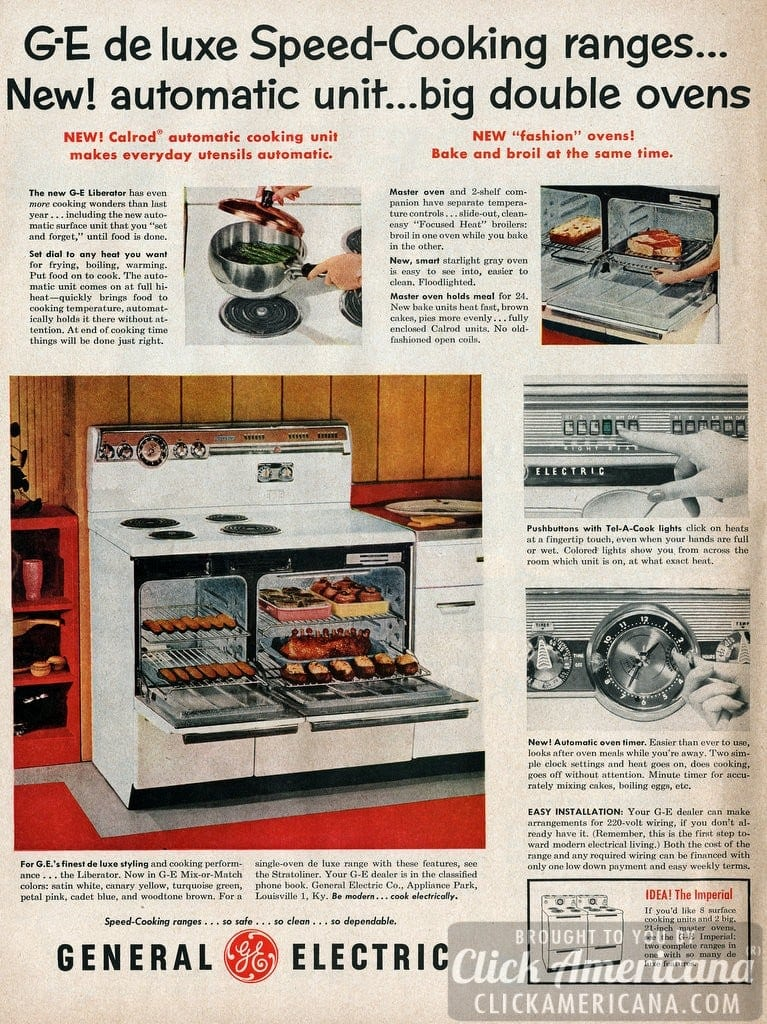 Vintage Electric Stove >> GE Deluxe Speed-Cooking ranges (1955) - Click Americana