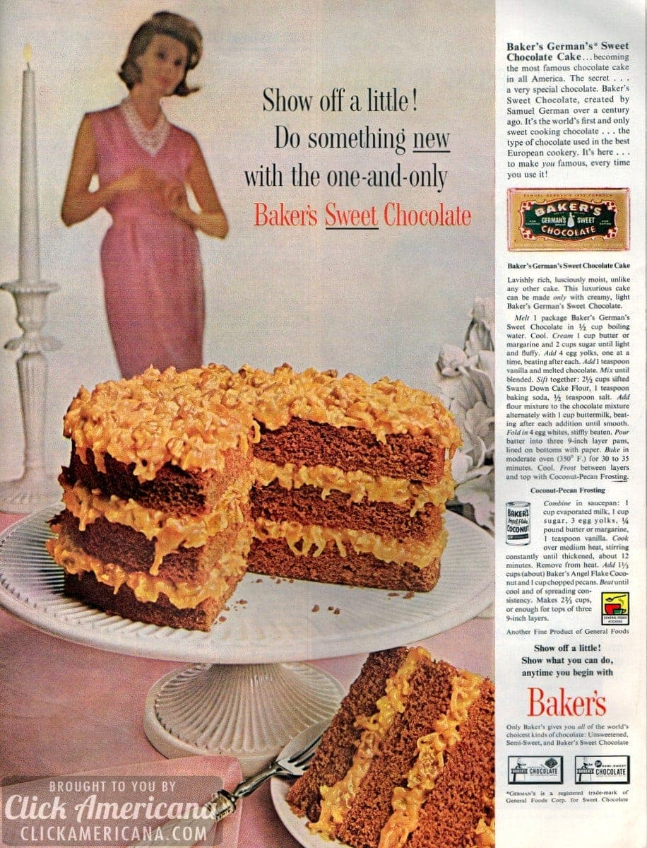 German chocolate cake & coconut pecan frosting (1961) - Click ...