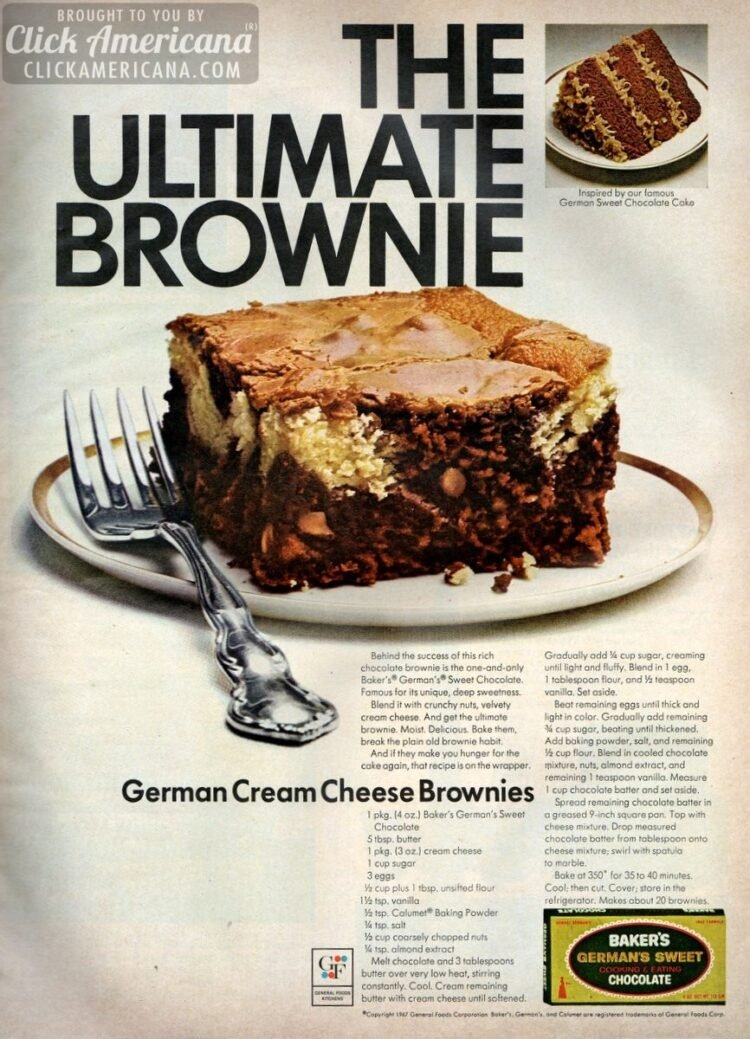 Classic German chocolate cream cheese brownies recipe (1967)