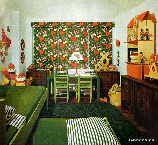 Playroom workroom bedroom 1965 click americana for 1960s decoration