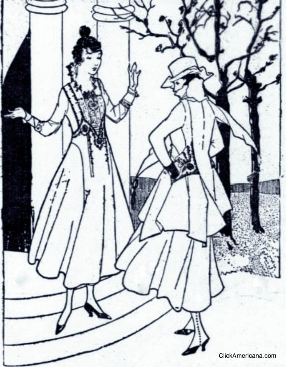 Metal-tinted cloth is the latest fashion (1916)