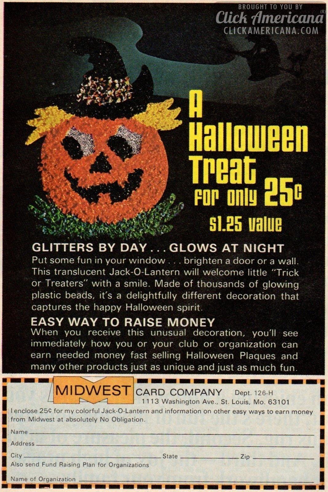 Glittering, glowing Halloween Jack O'Lantern decoration (1974)