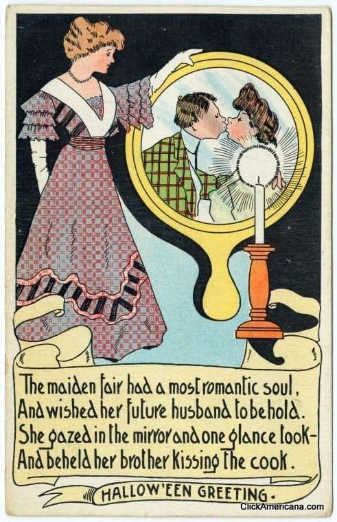 Vintage Halloween mirror postcards