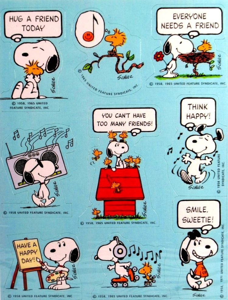 Friendship and happiness classic set of Snoopy/Peanuts sticker