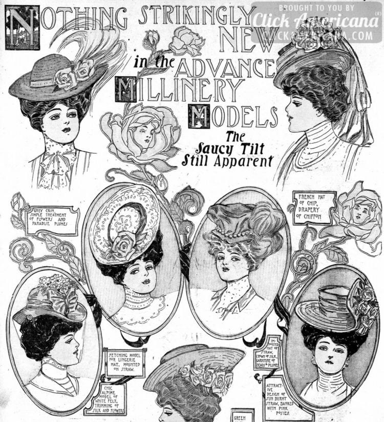 The most stylish hats of the season: The saucy tilt still apparent (1906)