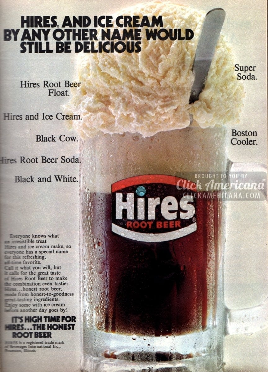 Black Cow, Boston Cooler: Hires Root Beer Floats (1972)