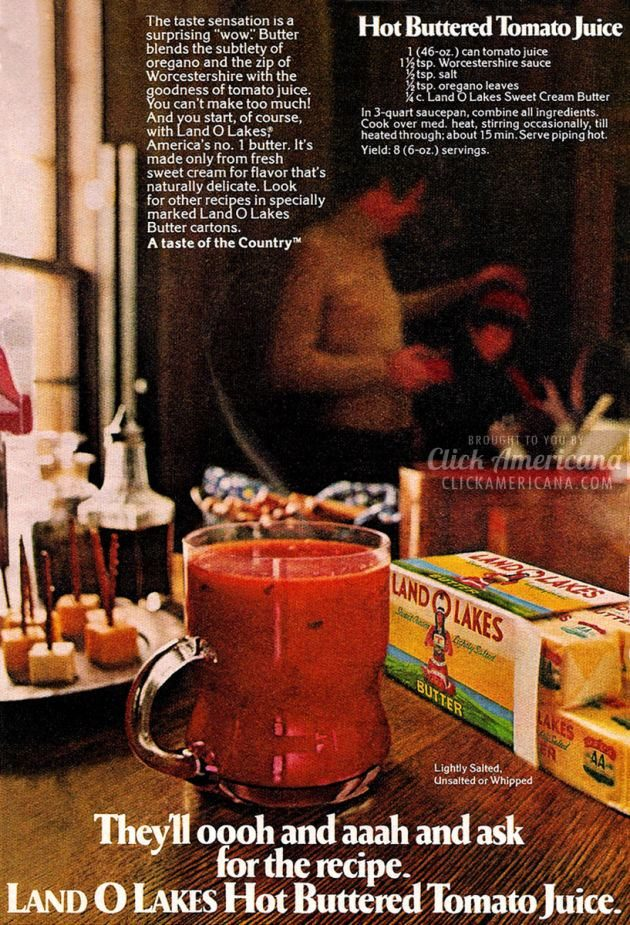 hot buttered tomato juice recipe vintage