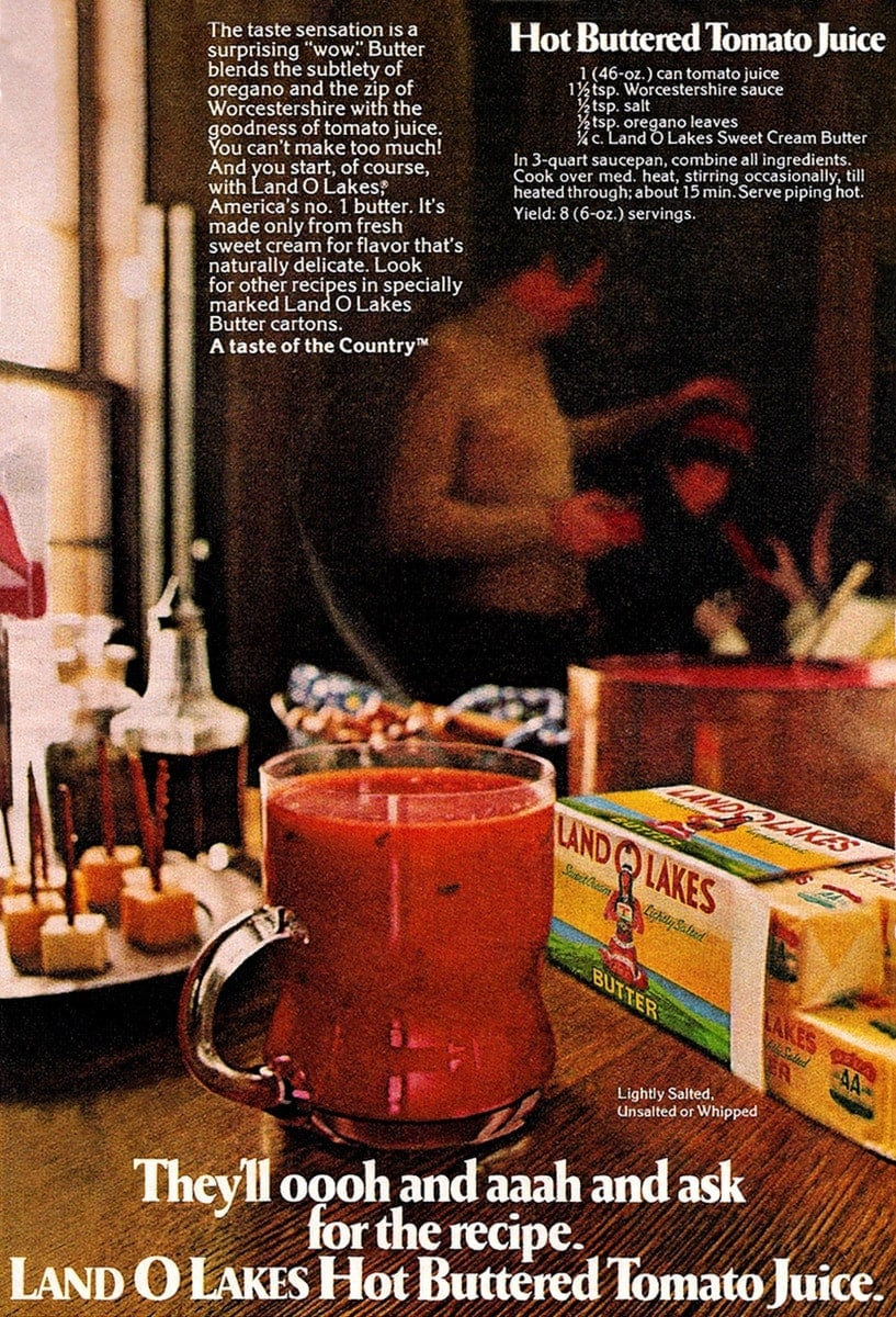 Hot buttered tomato juice recipe (1975)