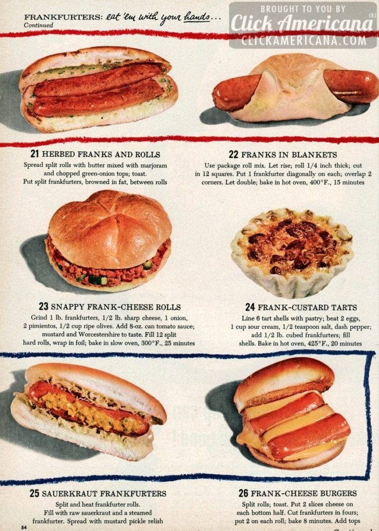 Herbed franks and rolls, Franks in blankets, Snappy frank-cheese rolls, Frank-custard tarts, Sauerkraut frankfurters, Frank-cheese burgers