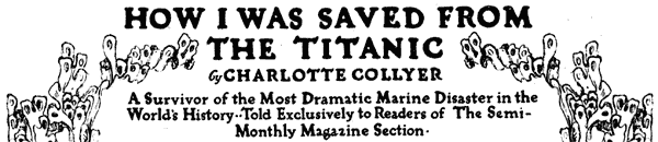 Saved from the Titanic: A woman's story (1912)