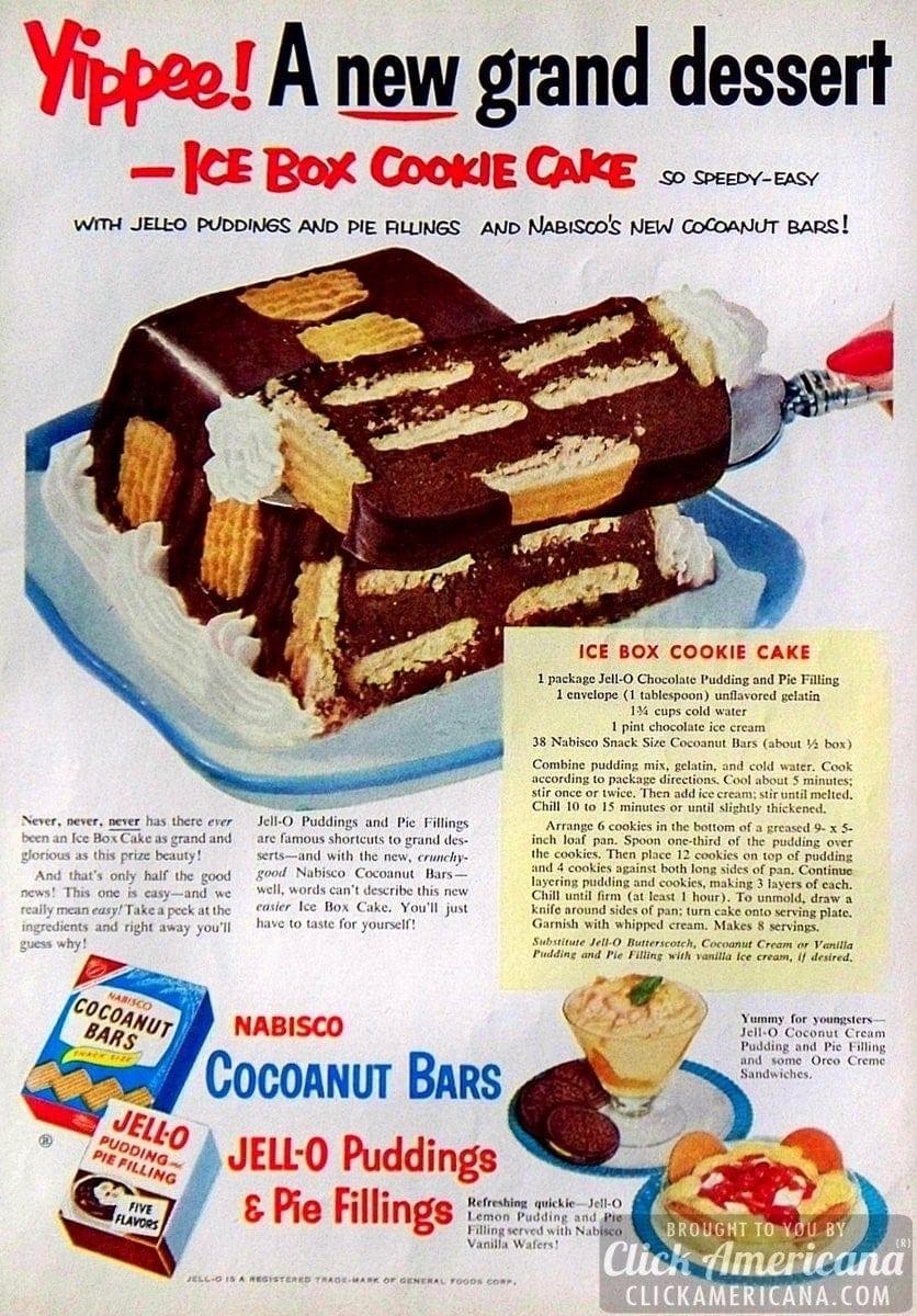 Ice box cookie cake recipe (1953)