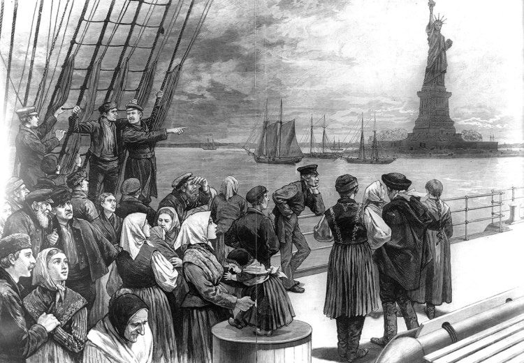 immigrants seeing the Statue of Liberty in New York Harbor from Frank Leslie's Illustrated Newspaper