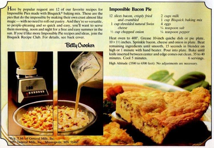 Impossible bacon pie recipe
