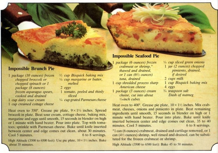 Impossible brunch pie & Impossible seafood pie recipes