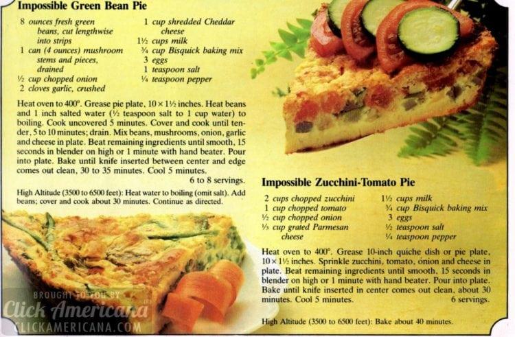 Impossible green bean pie & Impossible zucchini-tomato pie