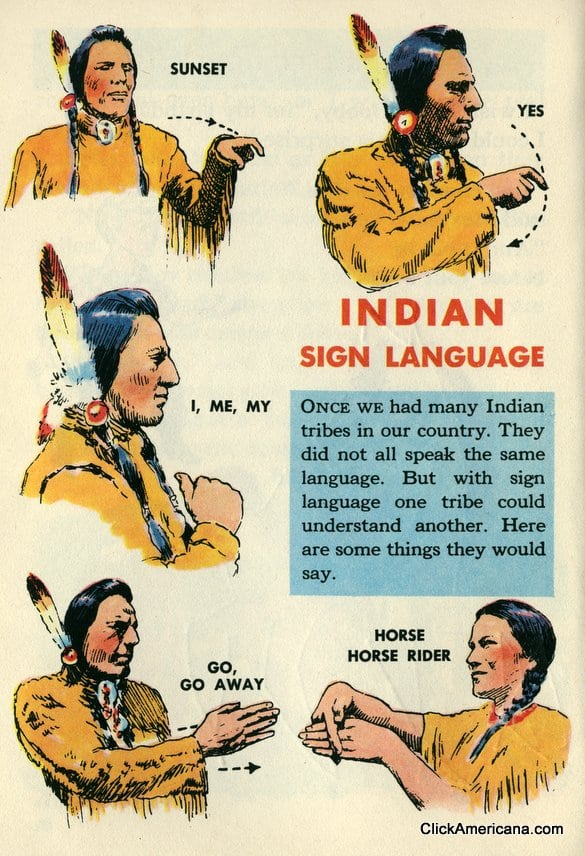 Native american sign language 1954 click americana for America s best contacts coupons