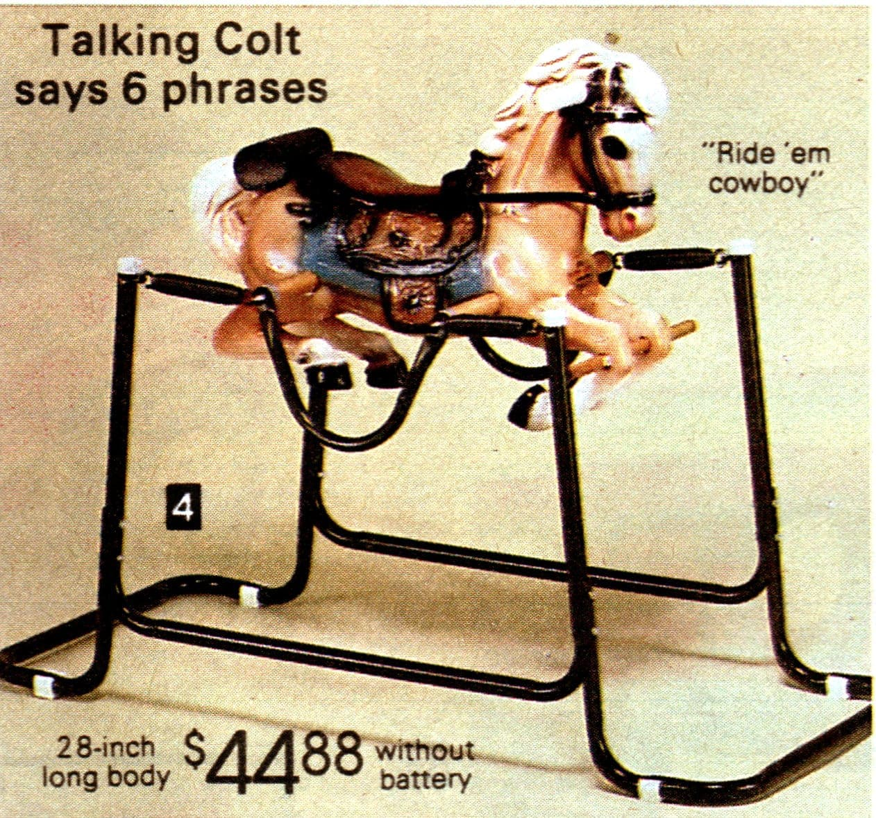 Talking colt - vintage ride-on spring horse toys from the 1980s