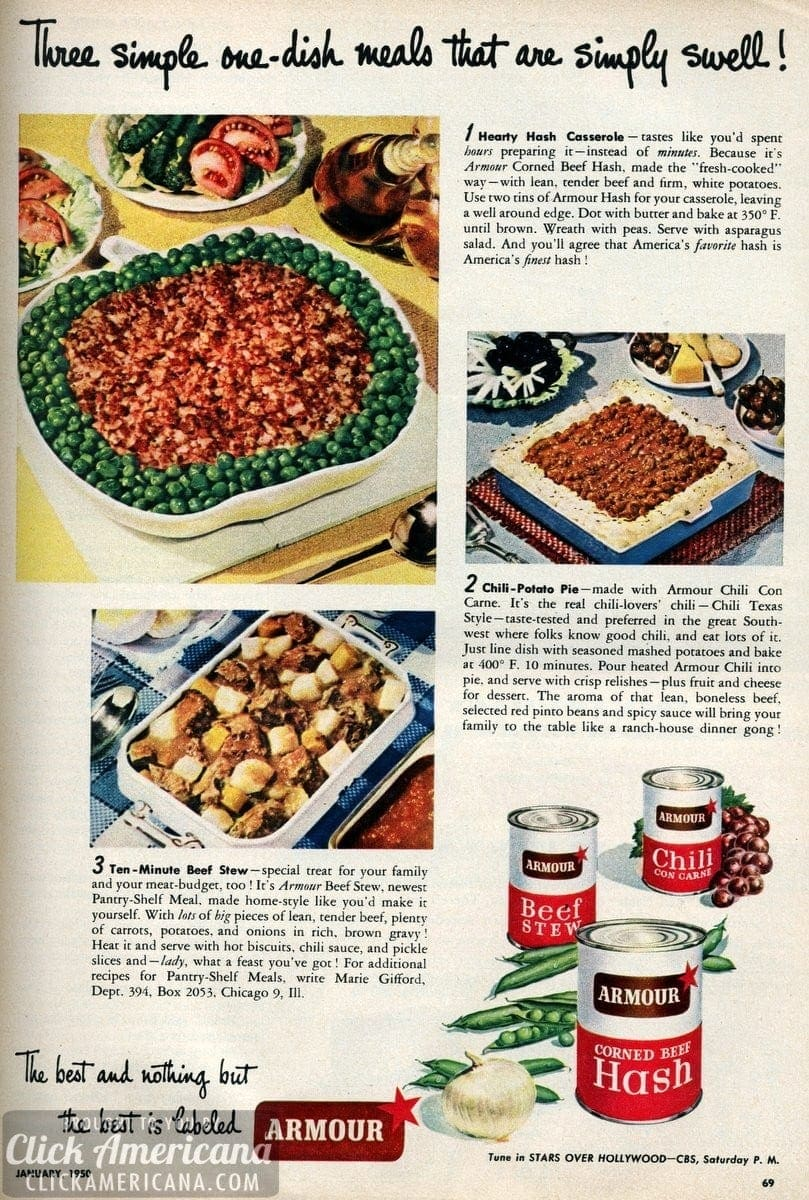 3 Swell One Dish Meals 1950 Click Americana