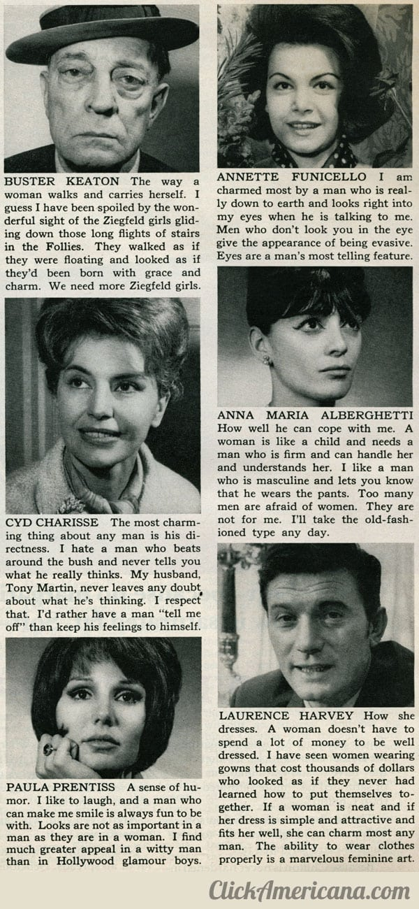 Celebs answer: What charms you most? (1965)