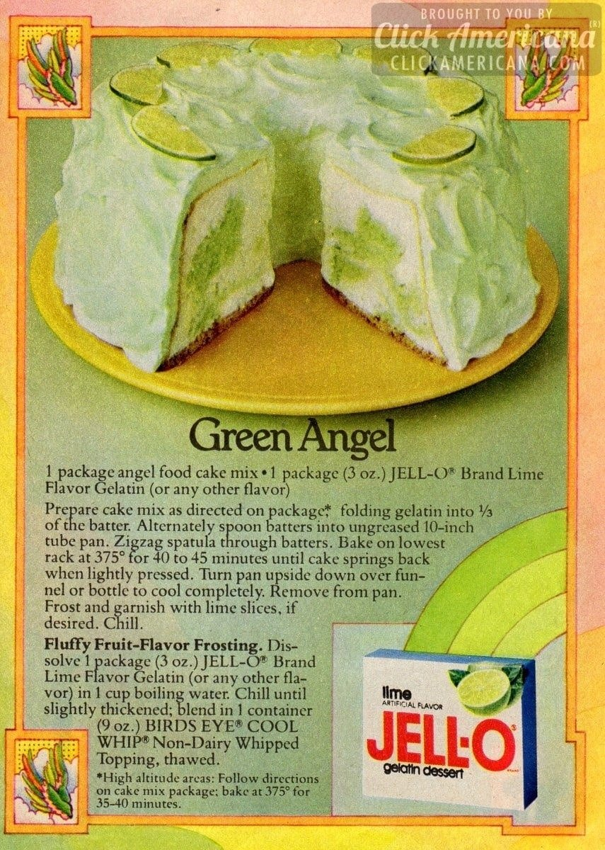 Green Angel Lime Cake Recipe 1978 Click Americana