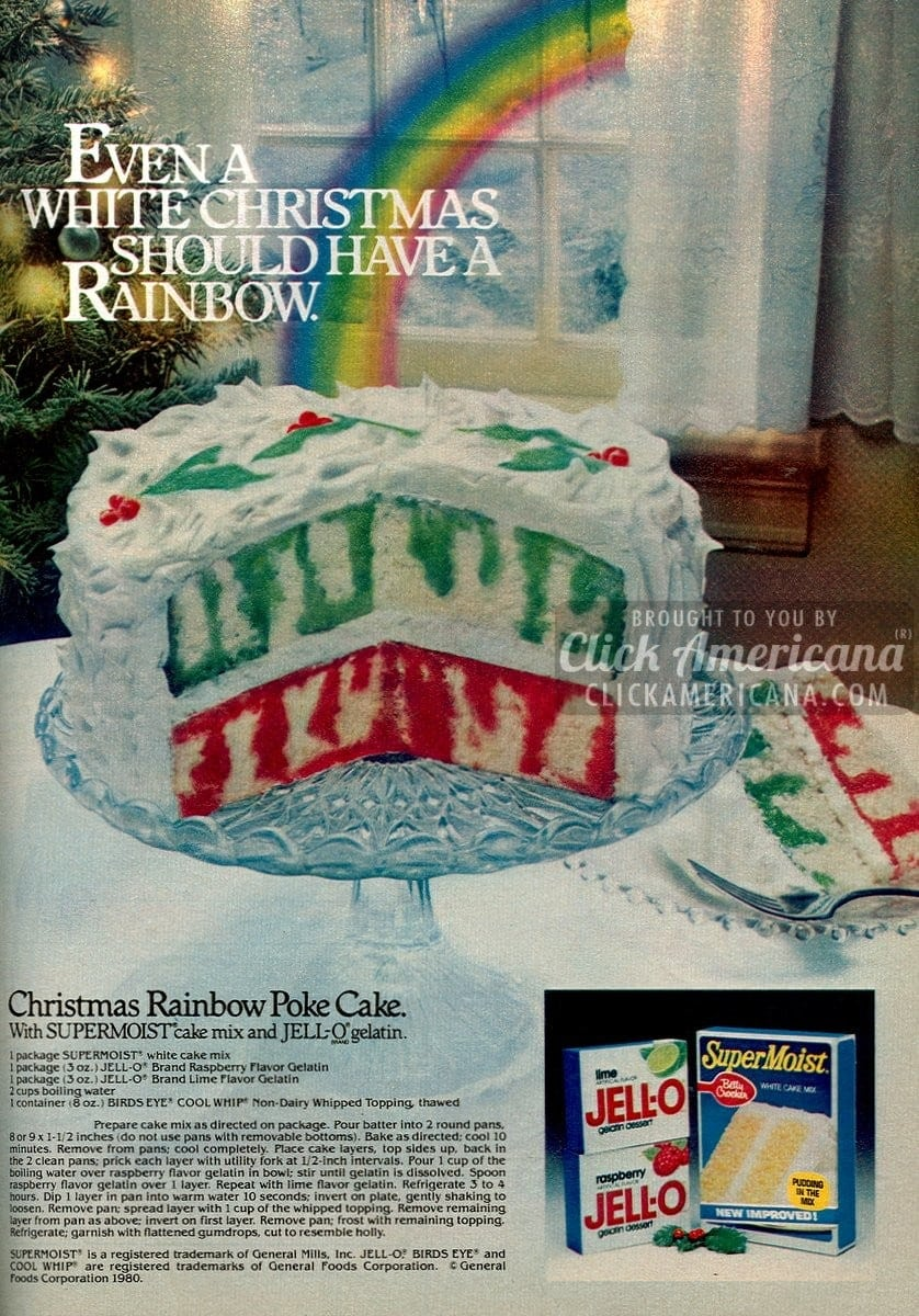 Christmas Rainbow Poke cake (1980)
