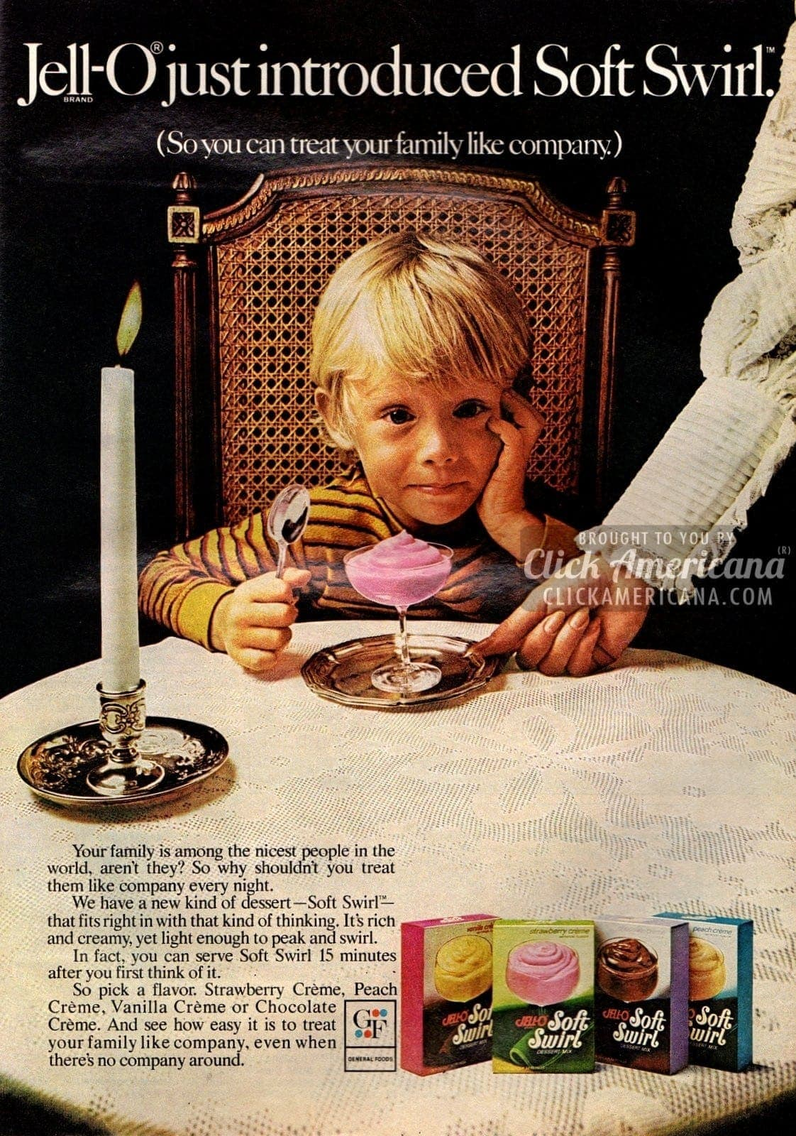 Florence Henderson introduces Jell-O Soft Swirl dessert (1972)