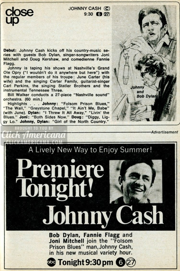 Johnny Cash's country music variety show debuts (1969)
