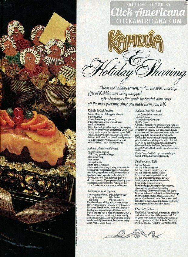 Holiday recipes featuring Kahlua liqueur (1987) - Click Americana
