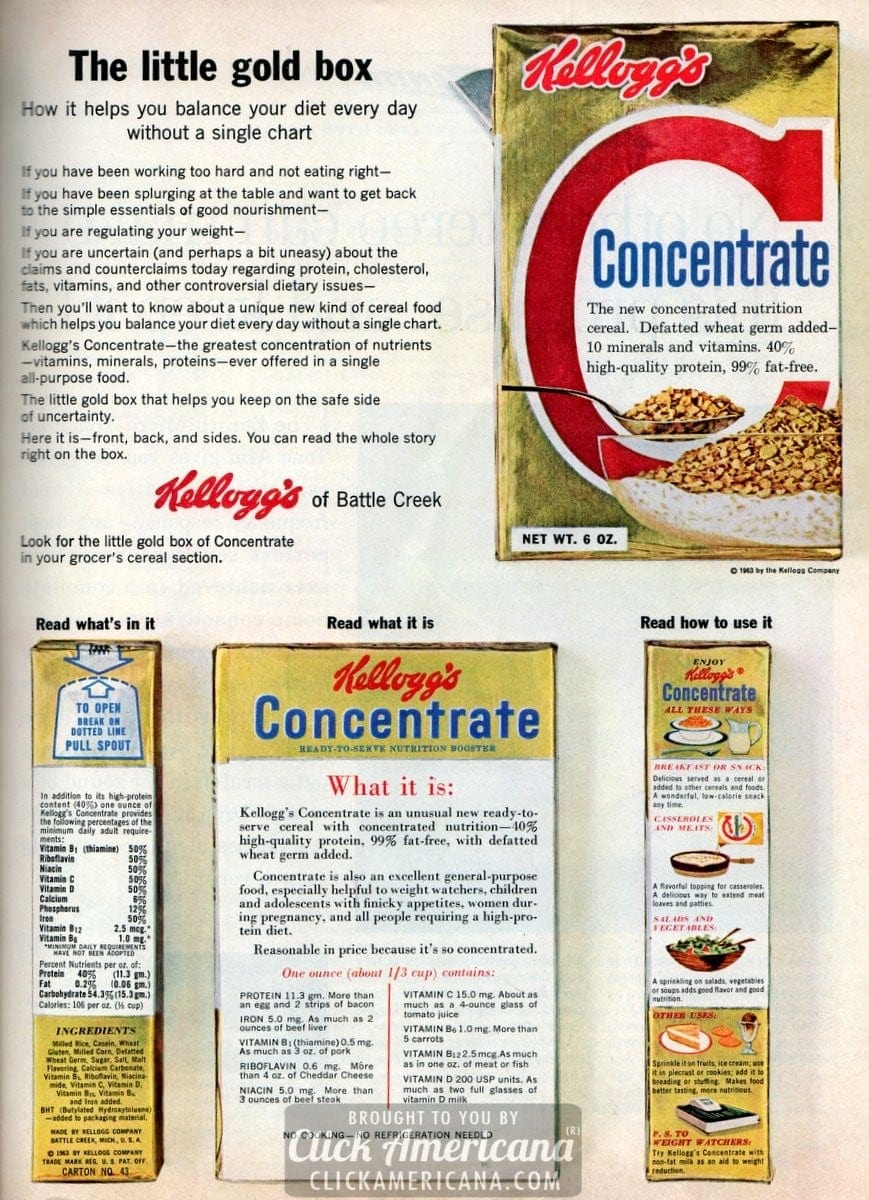 Kellogg's Concentrate cereal (1959-1965)