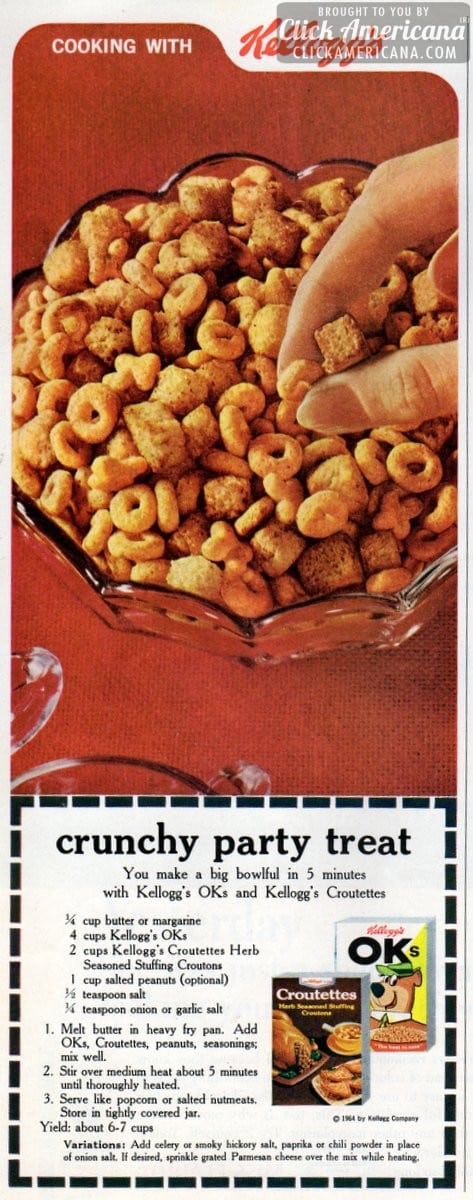 Make Crunchy party treats with OKs cereal (1964)