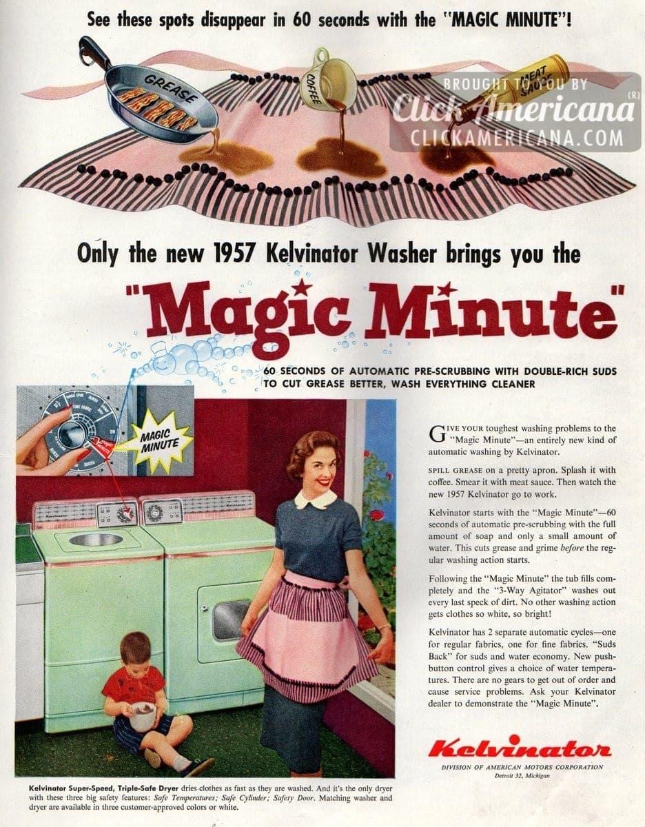 Kelvinator washing machine's Magic Minute (1957)