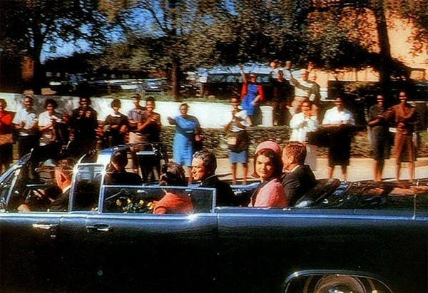 In the car, moments before JFK was killed