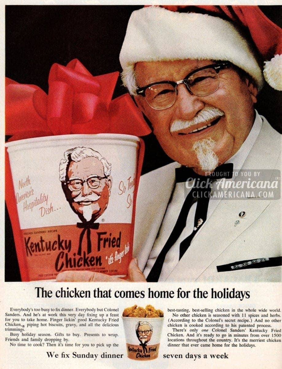 Kentucky Fried Chicken for Christmas rush (1965 & 1968)