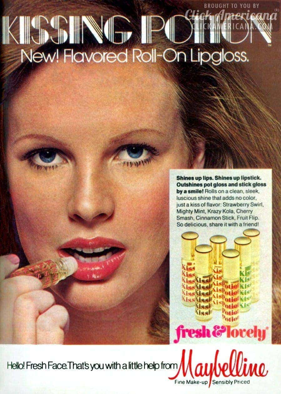 Young Kim Basinger for Maybelline Kissing Potion (1975)