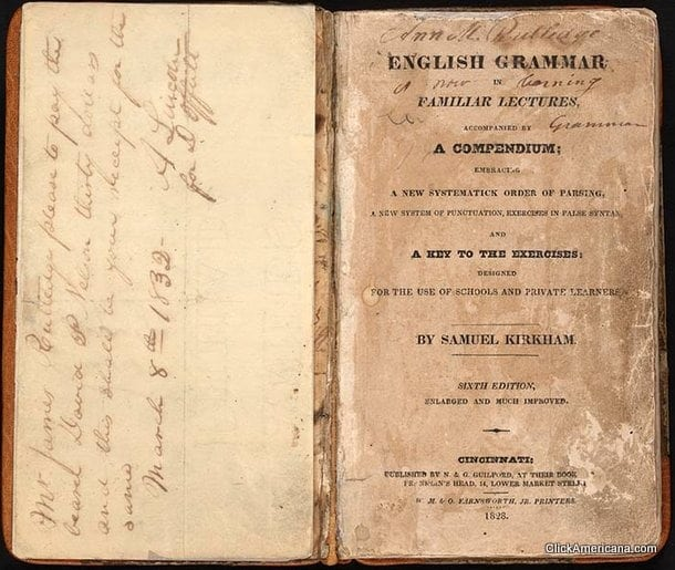 Kirkham's Grammar book used by Lincoln (1832)